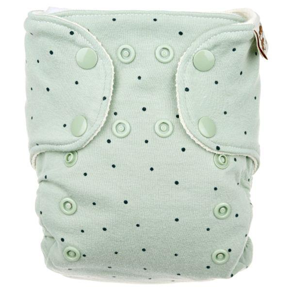 Anavy - Wollüberhose Gr.1 (3-7 kg) - Dots (Green) - Bio-Merinowolle - Klett & Druckverschluss