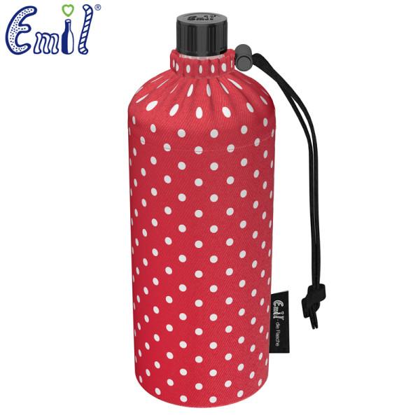 Emil die Flasche (600ml) - Komplettset (Bio-Baumwolle-Überzug) - Punkte Rot