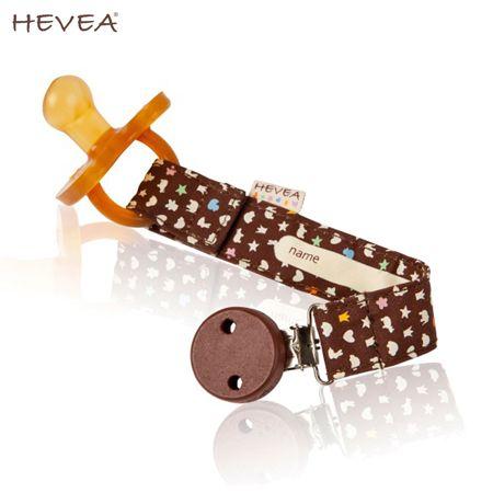 Hevea Schnuller-Band mit Clip aus Bio-Baumwolle - Braun