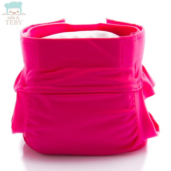 """Culla di Teby (AI3) - """"Soft Touch"""" Mikrofaser Überhose - (EINZELN) - Pink (mit Rüschen)"""