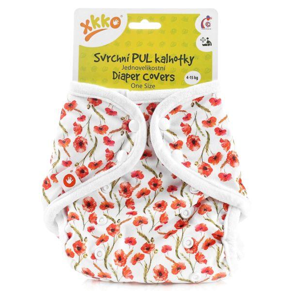 XKKO - Überhose (PUL) - One Size (4-15 kg) - Rote Mohnblumen