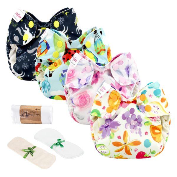 Blueberry - Simplex Newborn (AIO) - Bio-Baumwolle (GOTS) - Einsteiger Paket (inkl. GRATIS Zubehör)