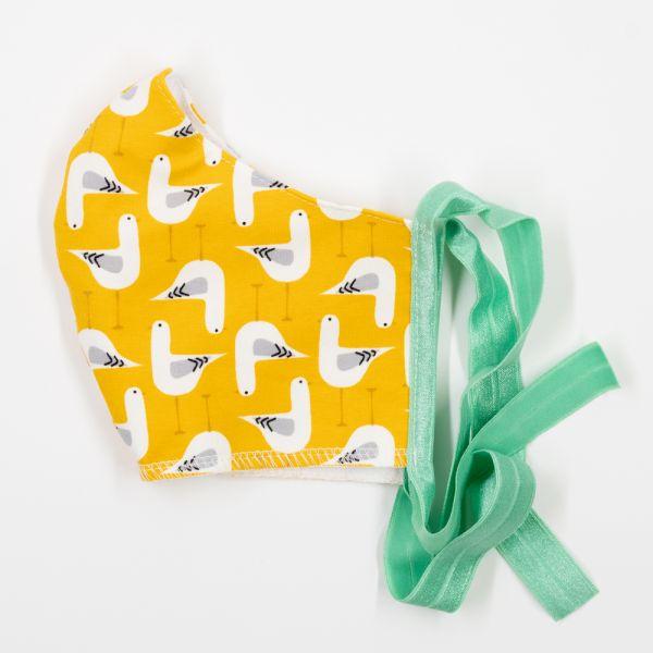 Anavy Wiederverwendbare Behelfsmaske Größe L - Möwen (Gelb)
