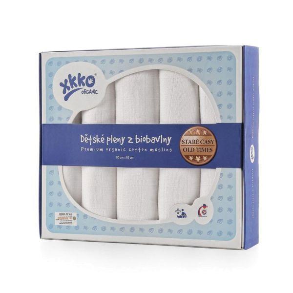 XKKO Organic Mullwindeln 100% Bio-Baumwolle (Alte Zeiten) 80x80cm Weiß Verpackung