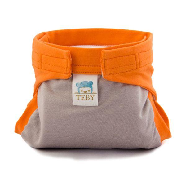 "Culla di Teby (AI3) - ""Classic"" Baumwolle Hybridwindel - (EINZELN) - Grau & Orange"